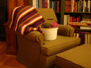 chair and afghan