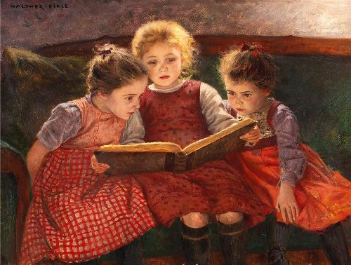 Walter-Elmer-Schofield-xx-Three-reading-girls-xx-Private-Collection
